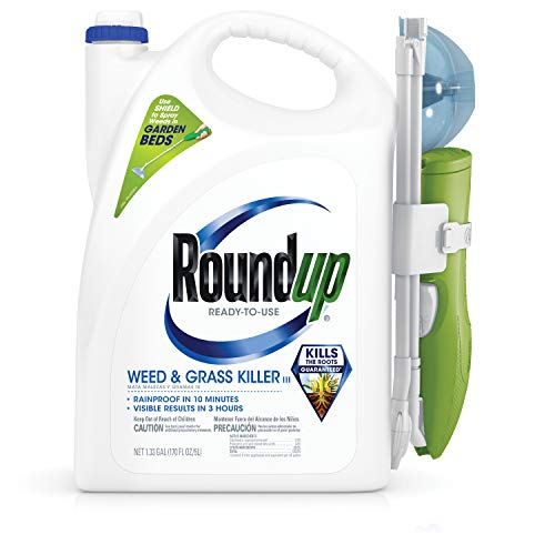 Roundup Ready-To-Use Weed & Grass Killer III -- with Sure Shot Wand, Use in & Around Vegetable Gardens, Tree Rings, Flower Beds, Patios & More, Kills to the Root, 1.33 gal.