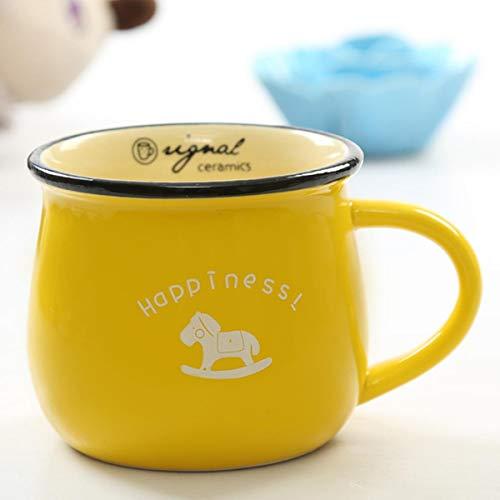 Taza de café de cerámica retro Tazas de comestibles estilo clásico europeo lindo desayuno taza esmalte leche tazas con tapa regalos encantadores