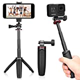 Ulanzi Extendable Selfie Stick for Gopro Hero 9/8/7/6/5, Portable Vlog Selife Stick Tripod Stand for Gopro Max DJI Osmo Action Insta 360 Action Camera Accessory Kits