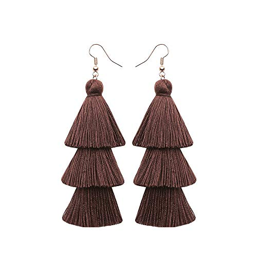 Brown Layered Tassel Earrings Simple Bohemian 3 Tier Big Dangle Drop Earrings for Women girls