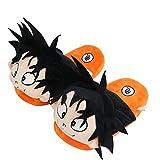 Zapatillas Casa Divertidas Dragon Ball Z Pantuflas Peluche Hombres Mujeres Anime japonés Goku Pantuflas algodón Invierno Slippers Antideslizante Calidez Casual Zapatos de piso-Negro_35-42 (280 mm)
