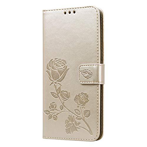 Miagon Rose Blume Hülle für iPhone 12,PU Leder Flip Schutzhülle Handy Tasche Wallet Case Cover Ständer mit Magnetverschluss,Gold