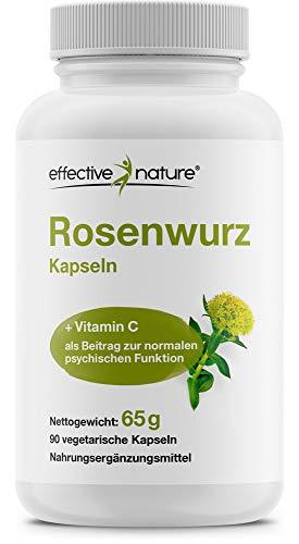 Effective Nature – Rosenwurz, Enthält Rosavin und Salidrosid, Mit Natürlichem Vitamin C, In Deutschland Hergestellt, 400 mg Rosenwurz pro Tagesdosis, 90 Kapseln