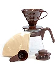 HARIO V60 Coffee Dripper and Glass Server Set 700ml 02 Size Brown [Kitchen] (Japan Import)