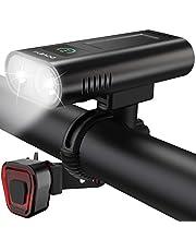 DOVEYI USB oplaadbare LED-fietsverlichting voor en achter, krachtige 6400 mAh Superheldere 2400 lumen fietsverlichting Waterdichte IPX5 fietsverlichtingsset voor weg- en mountainbike