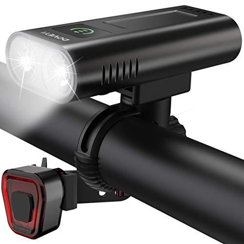 DOVEYI Luz Bicicleta,Potente 6400 mAh Led Luces Bici Delantera y Trasera 2400 Lúmenes Recargables USB Linterna Bicicleta Impermeable IPX5 Focos para Bicicletas Luces y Reflectores de Ciclismo