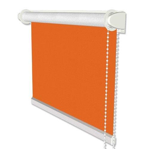 INTERDECO Verdunkelungsrollo/Thermo Rollo, Orange BxH 98,5 x 175 cm, Klemmfix Rollos ohne Bohren, Seitenzugrollos mit Silberbeschichtung