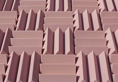 Wedge Style Acoustic Foam Panels 2 Pack - 12in x 12in x 4 Inch Thick Tiles - Soundproofing Acoustic Studio Foam - Rosy Beige Color