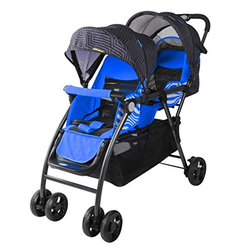 JIAX Tandem Stroller,Best Double Stroller - Everyday Twin Stroller with Umbrella,Lightweight One-Hand Compact Fold,Compact and Easy to Maneuvers Everyday Compact Travel Stroller (Color : Blue)