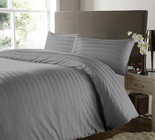 SeventhStitch 500 Thread Count 100% Egyptian Cotton Duvet Cover with Pillow Cases Bedding Sets Double King Super King Size Quilt Covers (Grey, Double)