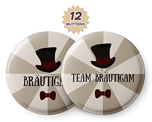 Spielehelden 12er Set JGA Buttons für Männer mit Zylinder – Anstecker JGA für den Bräutigam und Seine Crew zur Bachelor Party - Button Junggesellenabschied