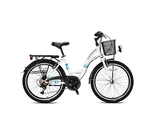 Geroni Sirio - Bicicleta de ciudad para niña, 26 pulgadas, 21 velocidades, color blanco/turquesa