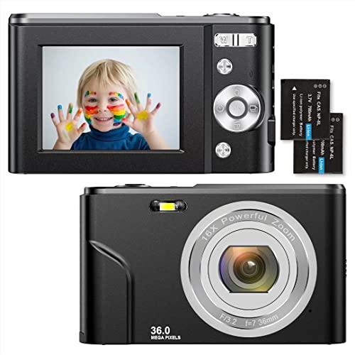 Compactas Cámaras Digitales 2,4 Pulgadas 1080P 36 Megapíxeles HD Camara Fotos Recargable Cámara para de Bolsillo Cámaras Digitales con Zoom 16X Camara Compacta,para Principiantes,Niño,Adulto (Negro)