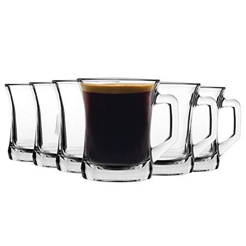 Lav 12 Piezas de Cristal Zen + Taza Set - Estilo Moderno Sqaure Tea Mango/café Vasos - Claro - 225ml