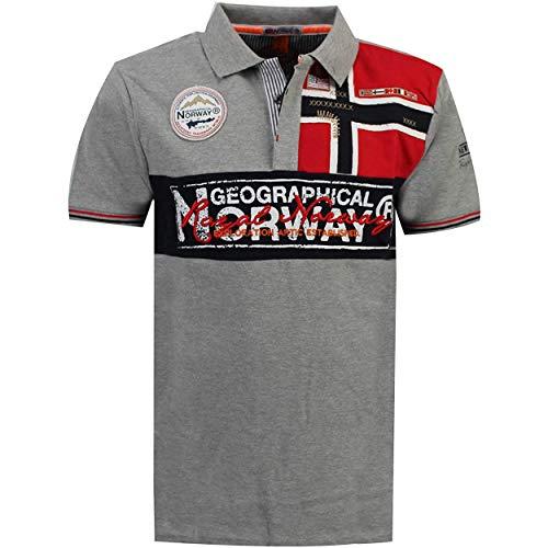 Geographical Norway Kidney - Polo Algodón con Logo para Hombre - Camisa Fit Comodidad - Camiseta Bordado Transpirable Manga Corta - Camisetas Cuello Clasico Casual - Regalo Ideal Hombres (Gris L)