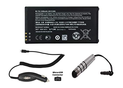 Generic World Star Replacement Battery BV-T5C 2500mAh 3.8V for Nokia/Microsoft Lumia 640 with Micro Car Charger, Ministylus and 2 Year Limited Warranty