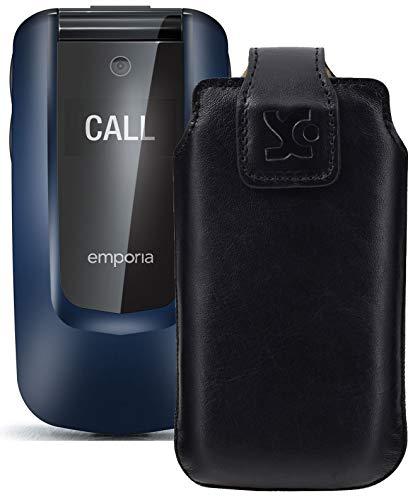 Suncase Original Tasche kompatibel mit Emporia Comfort Hülle Leder Etui Handytasche Ledertasche Schutzhülle Hülle in schwarz