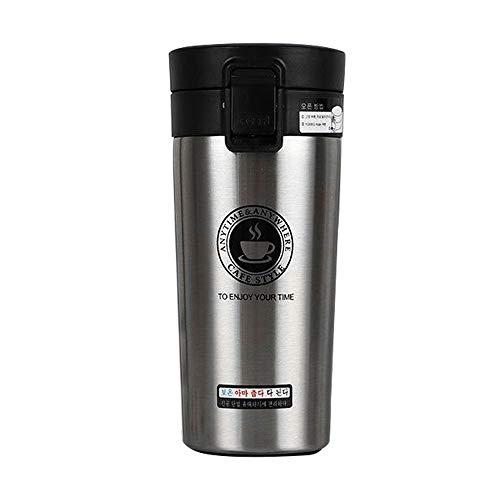 Tazas Térmicas Termo de Café para Llevar de Acero Inoxidable Vaso Termico Prueba de Fugas Taza de Café Térmica Taza de Automóvil de Doble Pared Sin BPA para Coche Oficina Viaje 380ML (Plata)