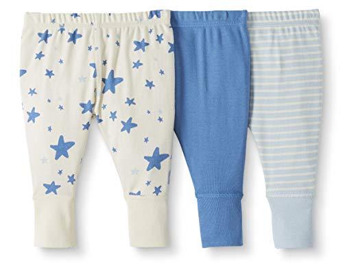 Moon and Back de Hanna Andersson - Pack de 3 pantalones de chándal de algodón orgánico para bebé, Azul, 18-24 messes (77-82 CM)