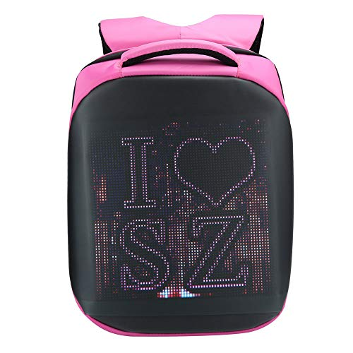 Cuifati 20L Waterproof LED Backpack S-shaped Adjustable Shoulder Strap Comfortable Hand‑Held for traveling, going out, rainy days(Pink)