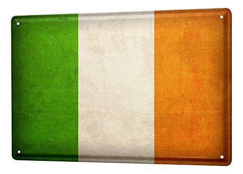 Blechschild Dekoschild Küche Garage Welt Reise Irland Flagge Wand Deko Schild 20X30 cm