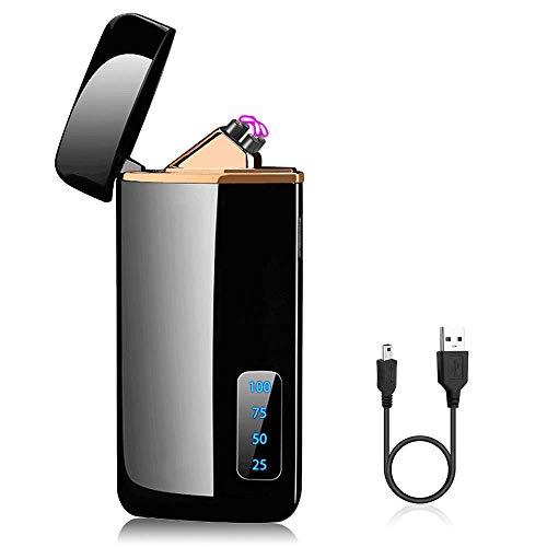 SANBLOGAN Mechero Electrico, USB Encendedor Electrico Pantalla Táctil Mechero Mechero Electric, sin Llama, a Prueba de Fuego, a Prueba de Viento, con Indicador de Batería