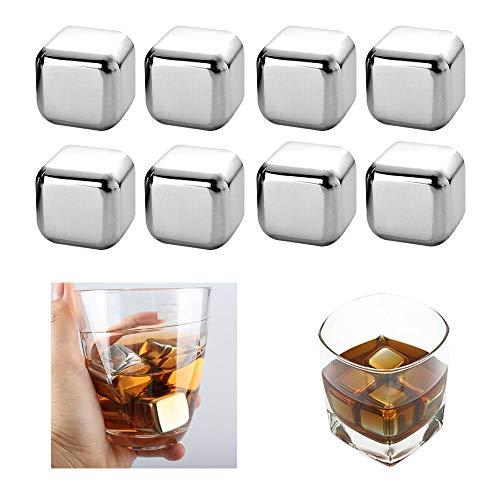 ONEVER Whisky Stones Acero Inoxidable Cubitos de Hielo Piedras de enfriamiento Reutilizables Whisky Wine Keep Cold Drink para Cerveza Enfriador de Vino