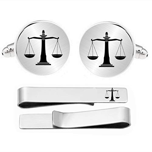 Kooer Cufflinks for Men, Lawyer Gifts for Men Scales of Justice Cufflinks & Tie Bar Law Scales Jewelry Gift for Lawyer Judge