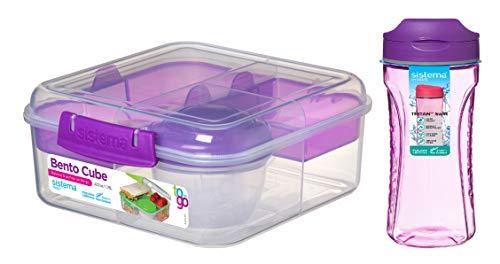Sistema Set-Bento Cube Box avec gobelet à fruits/yaourts 1,25 l et bouteille Tritan Swit 600 ml Violet