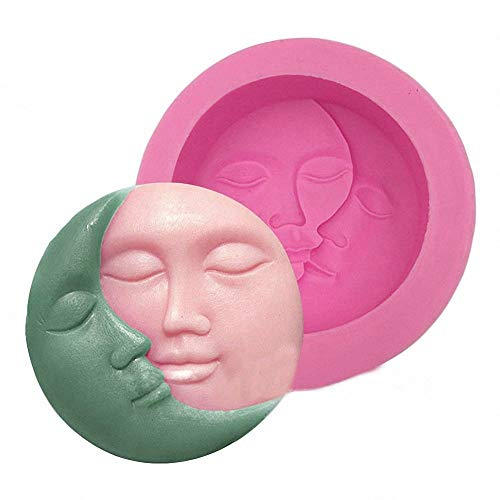 MoldFun Sun and Moon Face Soap Mold Silicone Mold for Handmade Bath Bomb, Lotion Bar, Polymer Clay, Wax, Crayon