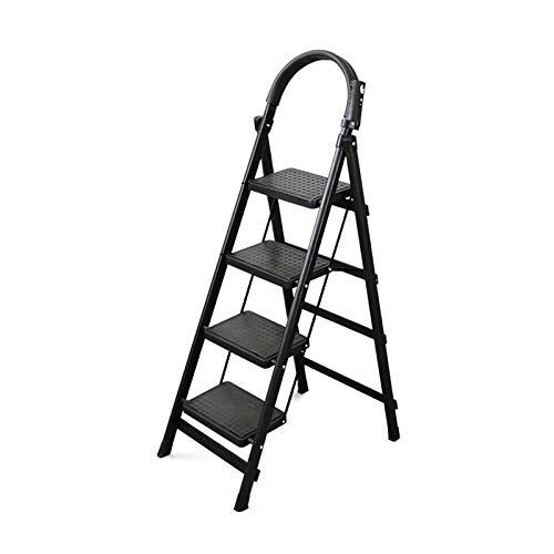 Escalera De Ingeniería Familiar, Escalera De 4 Escalones Con Apoyabrazos Escalera Segura Para Plataforma Grande - Escalera De Tijera Negra - Con Hebilla De Seguridad doblez(Size:43*76*145CM)