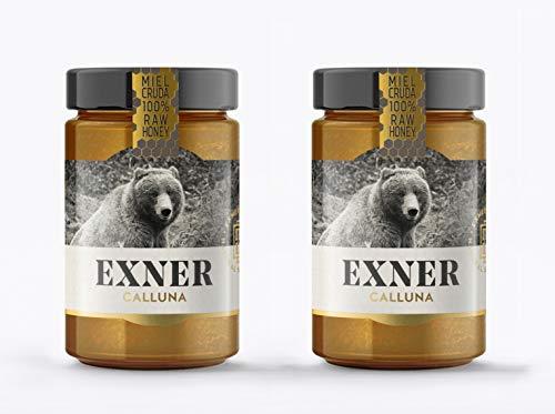 EXNER Miel de CALLUNA (Brezo) - Cruda 100{9ec69e31fcbc7a9e919f2f10e4562c75a11e882746bc24d5dde9e41a9129b49c} Raw Honey Artesana - 2 x 420 gr - Naturaleza y Montaña, Pura, Sin filtrar, Sin pasteurizar, Sin gluten