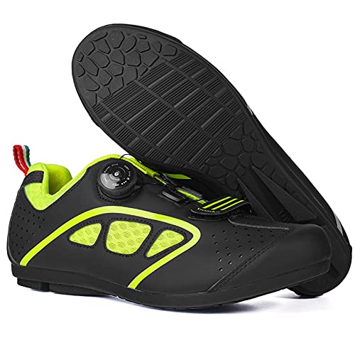 ZDERT Men's Mountain Cycling Shoes Casual Breathable Powersports Shoes with Rotating Buckle Street Riding Shoes Perfect for Road Racing Bikes White Color,43 Green