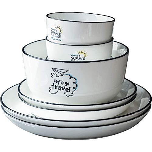 CCAN De vajilla, vajilla de cerámica, 25 Piezas de combinación Simple de Porcelana de Estilo nórdico - Cuenco/Plato  Vajilla de Trazos de línea Negra Hecha a Mano para Restaurante Interesting Life