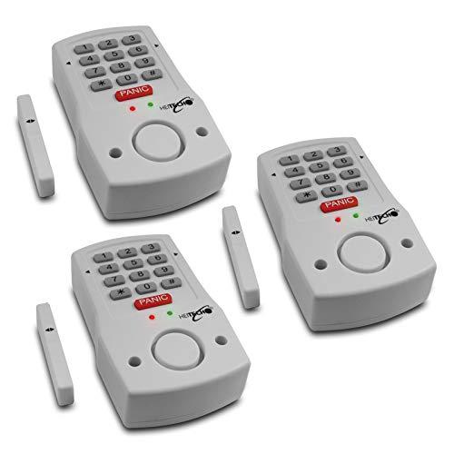 Juego de 3 alarmas para Puerta y Ventana con Entrada de código, Incluye 2 Pilas AA. Sistema de Alarma con Detector de Movimiento como protección antirrobo.