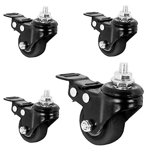 VIVO 1.5 inch M8 Threaded Locking Caster Wheels (Set of 4), Swivel, Rubber Base, Brake, Used for TV Stands, Carts, and More (PT-ST-015C)