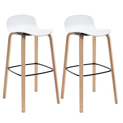 bdb Juego de 2 taburetes de bar de madera de polipropileno, superficie de la silla, sillas, marco de madera, taburetes de barra, mostrador, taburetes de altura (color: blanco)