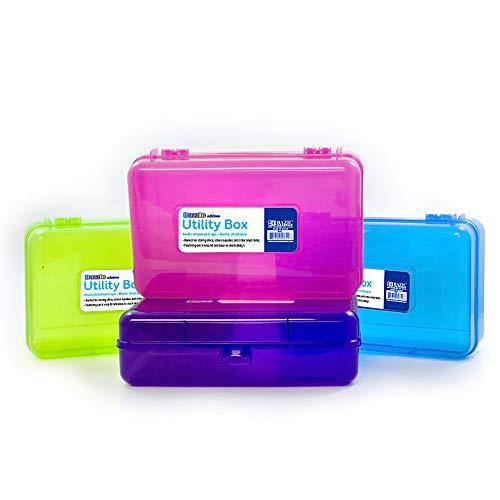 BAZIC Bright Color Multipurpose Utility Box Cubes Bin Pen Pencil Boxes Storage Assorted Colors Desk Plastic Organizer Case for Pen Pencil College Student Kids School Supplies 4-Pack