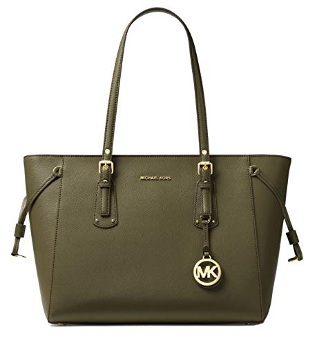 """Olive textured crossgrain leather w/ golden hardware. Recessed zip top closure; drawstring sides. Compatible With iPad. 8.8"""" flat shoulder straps drop with buckle ends. Exterior, hanging logo tag and logo lettering at front.. Interior back zip pocket..."""