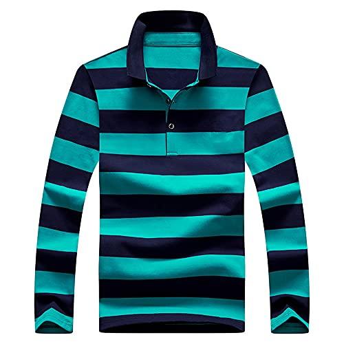 Camiseta de manga larga para hombre de primavera y otoño con solapa color puro casual