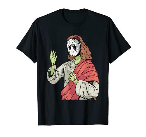 Zombie Jesús Lazy Halloween Disfraz Divertido Película de Terror Camiseta