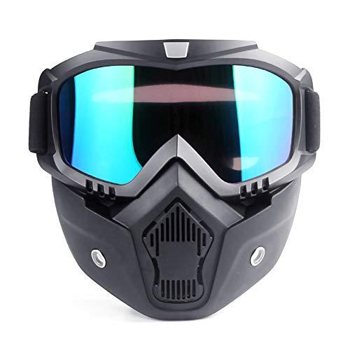 Sarplle Motorrad Schutzmaske Motorradmaske Paintball Staubmaske Gesichtsmaske mit Schutzbrille für Outdoor-Aktivitäten, Sport, Reiten