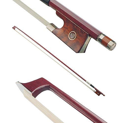 4/4 violín violín arco Brasilwood palo redondo serpiente serpiente rana pelo de cola de caballo bien equilibrado