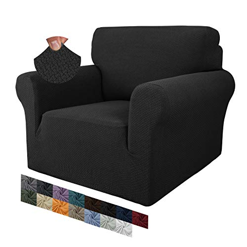 MAXIJIN Funda de silla de jacquard creativa para sala de estar, súper elástica, antideslizante, con brazos, perros, apto para mascotas, 1 pieza, protector de sofá y sillón (1 plaza, negro)