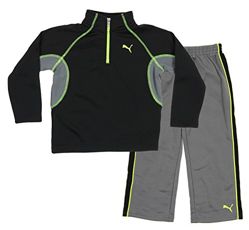PUMA Little Boys Toddlers 2-Piece Set 1/4 Zip Top & Matching Pants (4T, Black Grey Neon Yellow)