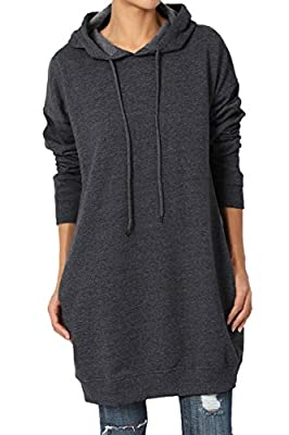 TheMogan Women's Hoodie Loose Fit Pocket Tunic Sweatshirts Charcoal 3XL from