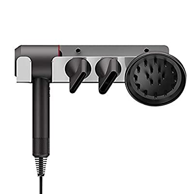 Hair Dryer Mount Compatible with Dyson Supersonic Hair Dryer - Holder for Dyson Hair Dryer, Diffuser, and Nozzles - Aluminum Alloy Wall Mount or Stick on installation