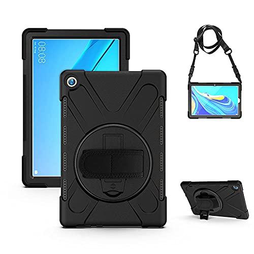 Funda resistente a prueba de golpes para Huawei Mediapad M5 10.8' CMR-W09 AL09 10 Pro Tablet Kickstand cubierta de silicona con correa para el hombro-negro