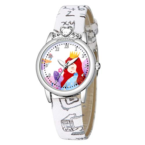 MZRI Children's Watch Crowned Princess Dial Watch Sport Quartz Watch Soft Pu Leather Watch Band Christmas Birthday'S Gift for Kids Girl (White)