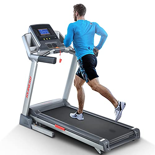 RUNOW 6631CA Folding Treadmill for Home with Auto Incline, Bluetooth Speaker, Large LCD Display Console, Electric Running and Walking Machine with 40 Programs, 3.5HP Foldable Treadmill.